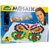 Lena 35536 - Mosaik transparent Stecker Set, Platte ca. 28 x 19 cm, 120 Stecker ca. 1,5 cm